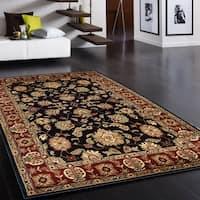 LR Home Adana Black/ Red Oriental Floral Area Rug - 5'3 x 7'5
