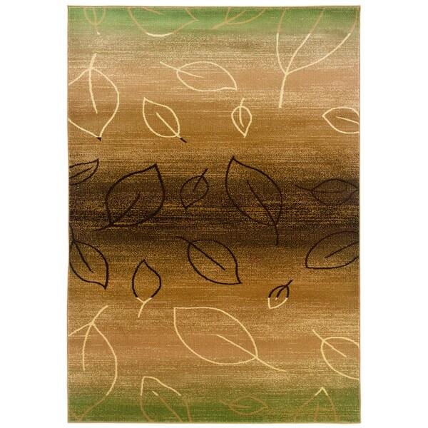 Light Brown and Light Moss Abstract Rectangle Rug (5'3 x 7'5)