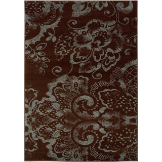 Shop Lnr Home Adana Brown Blue Transitional Floral Area