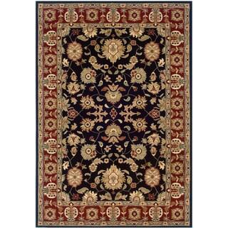 LNR Home Adana Black/ Red Oriental Floral Area Rug (7'9 x 9'9)
