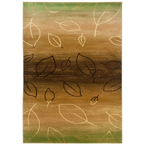 Light Brown and Moss Abstract Leaf Print Rug (7'9 x 9'9)