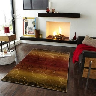 LNR Home Adana Cherry/ Light Brown Abstract Rug (7'9 x 9'9)