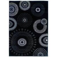 LR Home Adana Charcoal Grey Abstract Area Rug (7'9 x 9'9)
