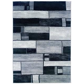 LNR Home Adana Charcoal/ Grey Geometric Area Rug (7'9 x 9'9)