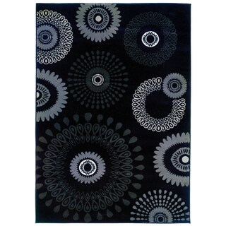 LNR Home Adana Charcoal Abstract Rug (1'10 x 3'1)