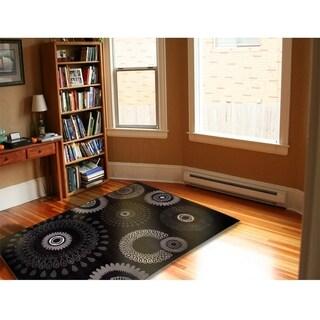 LNR Home Adana Charcoal Abstract Rug (1'10 x 3'1) - 2'2 x 3'3