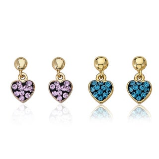 Molly Glitz 14K Gold Overlay Children's Crystal Heart Dangle Earrings