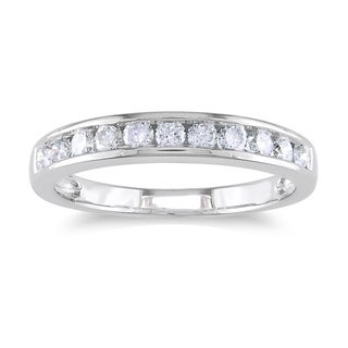 Miadora 14k Gold 1/2ct TDW Diamond Channel Anniversary Stackable Wedding Band Ring