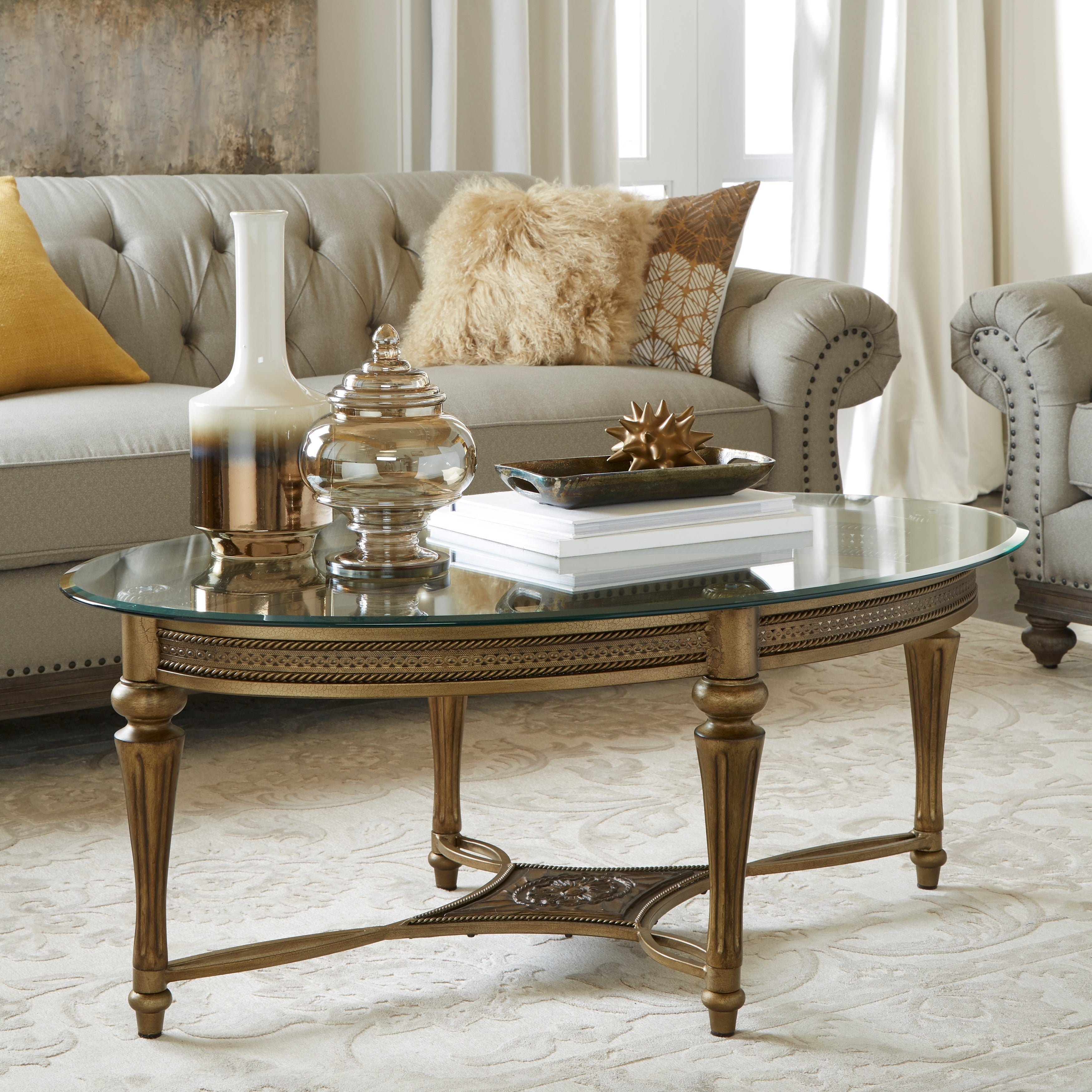 Magnussen Home Furnishings Galloway Oval Cocktail Table w...
