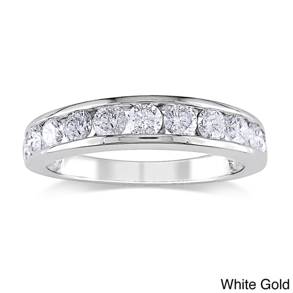 Miadora Signature Collection 14k Gold 1ct TDW Certified Diamond Channel Anniversary Stackable Wedding Band (G-H, I1-I2)