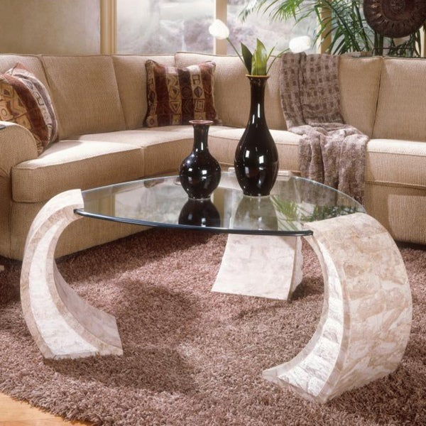 Natural Stone Coffee Table: Albany Natural Stone Shaped Cocktail Table