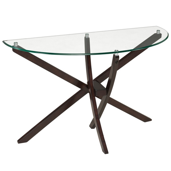 Xenia Contemporary Espresso Demilune Console Table