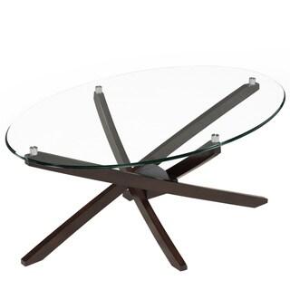 Xenia Contemporary Espresso Oval Coffee Table