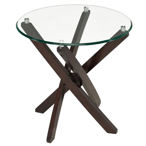 Xenia Contemporary Espresso Round End Table
