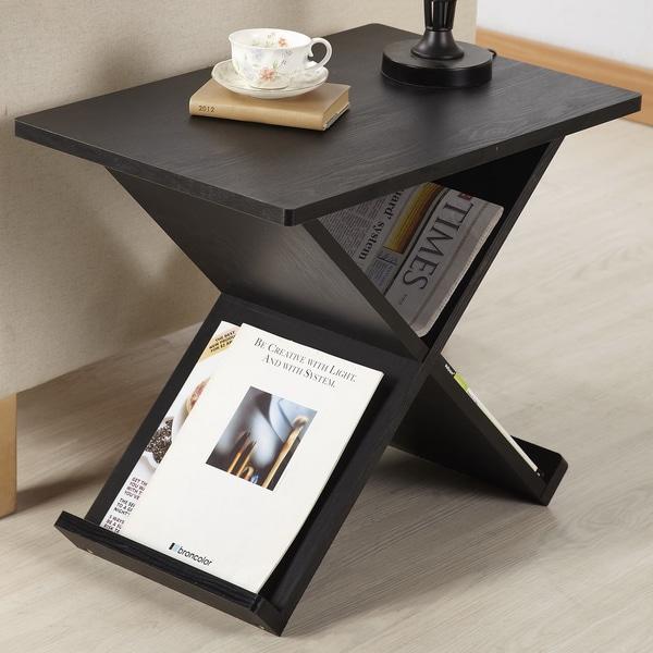 Furniture of America Modern Midnight X-shape Magazine Rack End Table ...