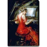 Giovanni Boldini 'The Woman in Red' Oil Canvas Art - Multi