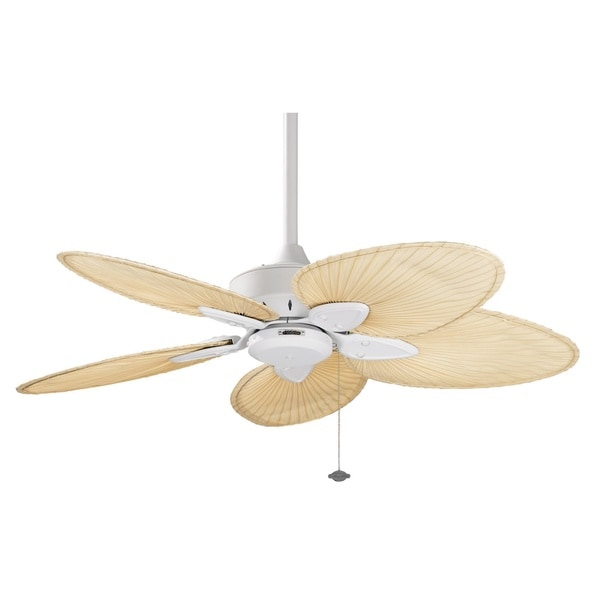 ... Ceiling Fan with Textured White Finish and Five Cream Wicker Blades