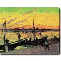 Vincent Van Gogh 'Coal Barges' Oil on Canvas Art - Multi