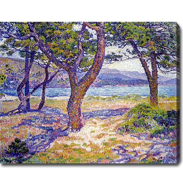 Theo Van Rysselberghe 'The Mediterranean at Le Lavandou' Oil on Canvas Art - Lavender/Brown