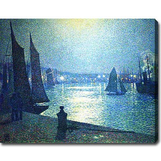 Theo Van Rysselberghe 'Moonlight Night in Boulogne' Oil on Canvas Art