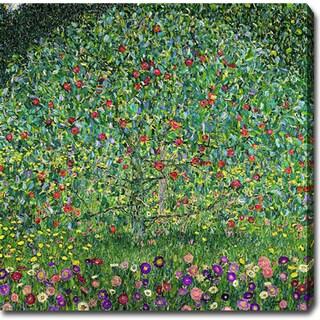 Gustav Klimt 'Apple Tree' Oil on Canvas Art - Multi