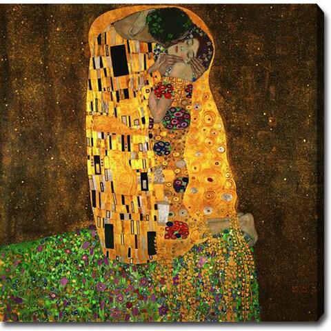 Gustav Klimt 'The Kiss' Oil on Canvas Art - Multi