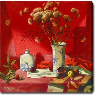 Flowers, Vases and Fruits in Red Studio' Oil on Canvas Art