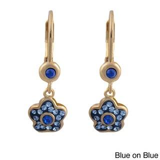 Molly Glitz 14k Gold Overlay Children's Crystal Flower Earrings (More options available)