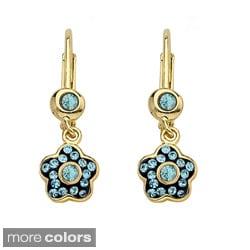 Molly Glitz 14k Gold Overlay Children's Crystal Flower Earrings