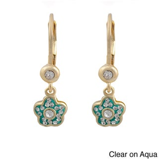 Molly Glitz 14k Gold Overlay Children's Crystal Flower Earrings (More options available)
