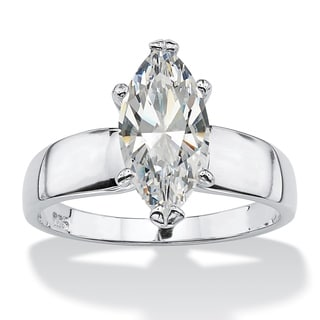 2.11 Carat Marquise-Cut Cubic Zirconia Sterling Silver Solitaire Ring Classic CZ