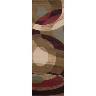 Woven Swirl Contemporary Geometric Brown Rug (3' x 8')