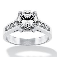 Silver Tone Cubic Zirconia Engagement Ring - White