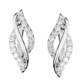 10k White Gold 1/8ct TDW Diamond Hoop Earrings (H-I, I1-I2)