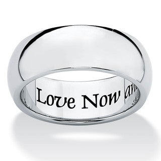 Stainless Steel Inspirational Message Wedding Band Ring 7mm Tailored