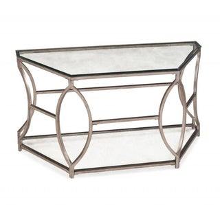 Nevelson Contemporary Glam Antique Gold Hexagonal Metal Console Table with Glass Top