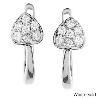 AALILLY 10k White or Yellow Gold 1/8ct TDW Diamond Heart Hoop Earrings (H-I, I1-I2)