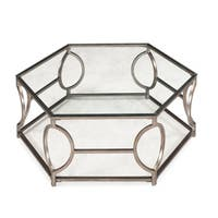 Nevelson Contemporary Glam Antique Gold Hexagonal Metal Coffee Table with Glass Top
