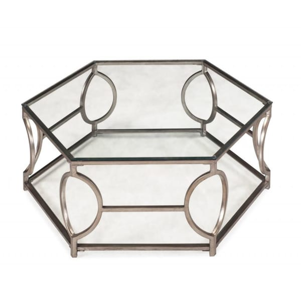 Nevelson Contemporary Glam Antique Gold Hexagonal Metal Coffee Table With Gl Top