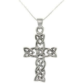 Carolina Glamour Collection Sterling Silver Celtic Braid Cross Necklace
