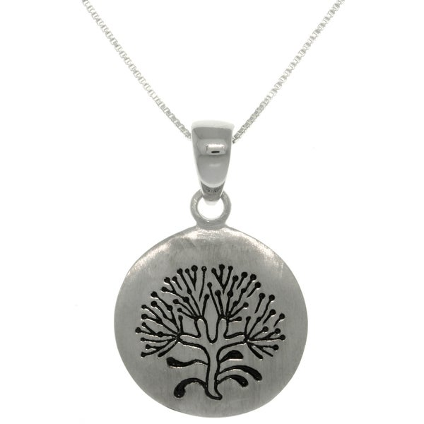 Sterling Silver Rune Stone 'Tree of Life' Pendant on 18-inch Box Chain Necklace