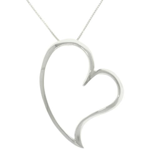Sterling Silver Large Open Heart Necklace
