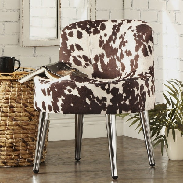 Bridgeport Ergonomic Cow Print Accent Chair