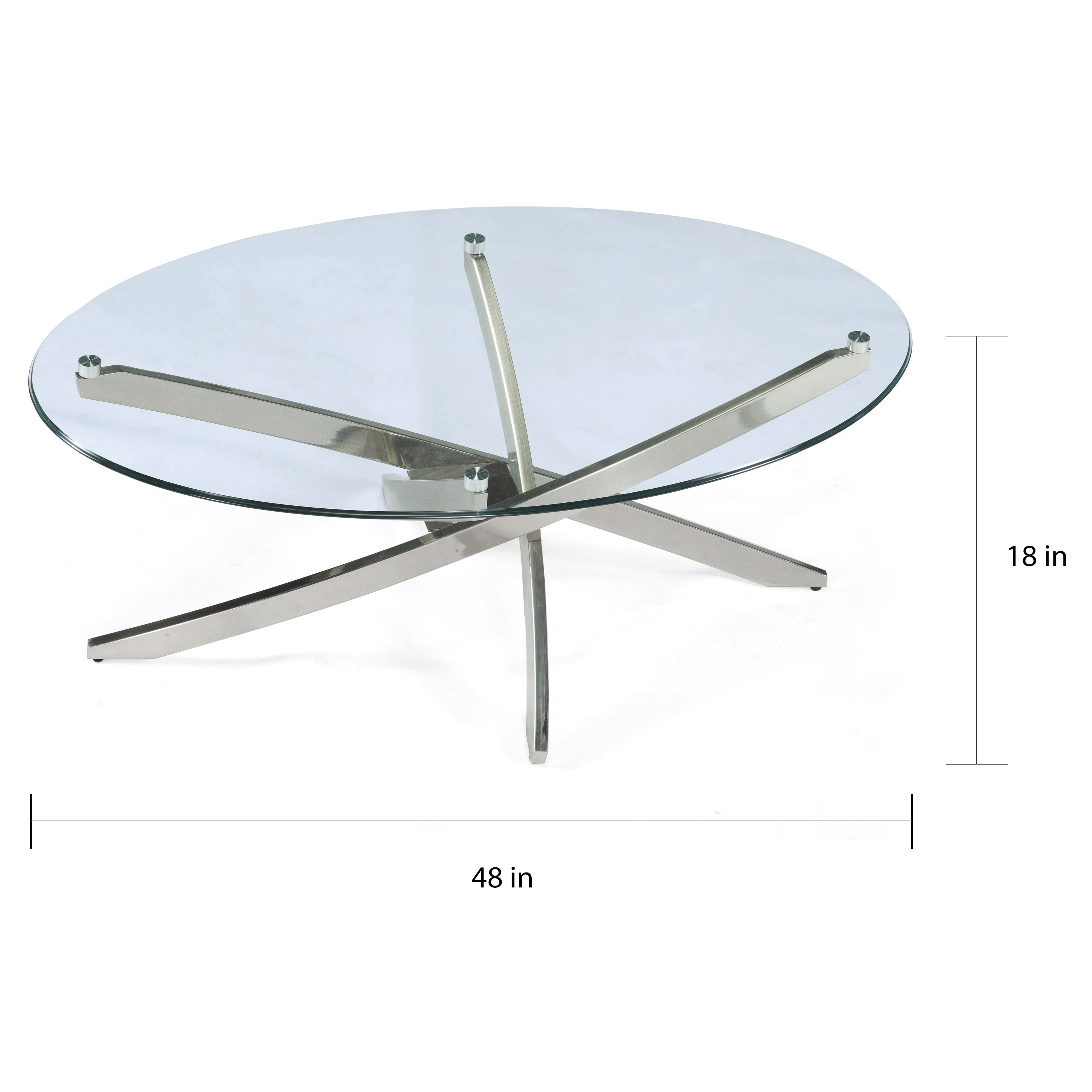 Zila Contemporary Brushed Nickel Oval Coffee Table With Glass Top On Sale Overstock 8033692