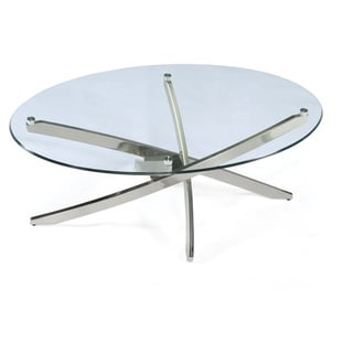 Zila Contemporary Brushed Nickel Oval Coffee Table with Glass Top