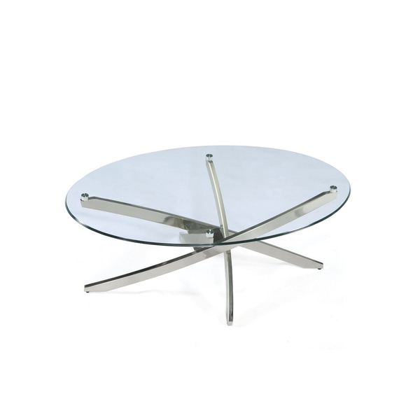 Zila Contemporary Brushed Nickel Oval Coffee Table Wit.