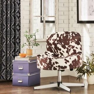 INSPIRE Q Bridgeport Ergonomic Contour Swivel Modern Cross Legs Accent Chair