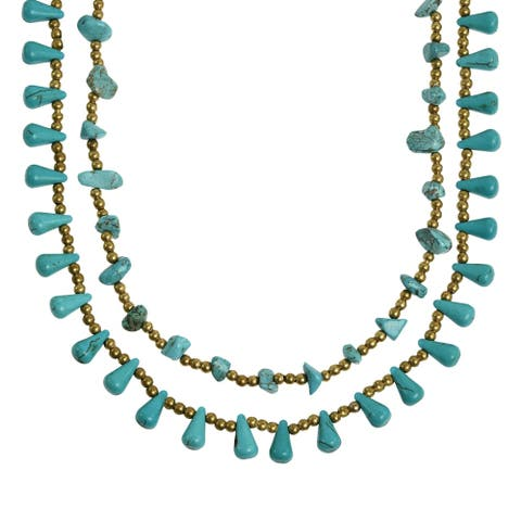 Handmade Harmonius Cascades Turquoise Stones Statement Necklace (Thailand)
