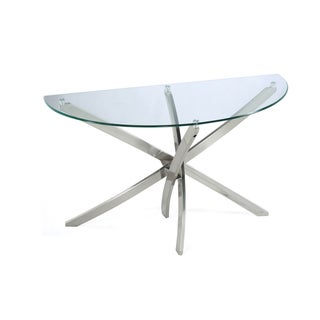 Zila Contemporary Brushed Nickel Demilune Console Table with Glass Top