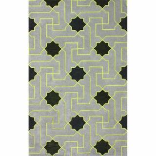 nuLOOM Handmade Star Trellis Grey Wool Rug (5' x 8')